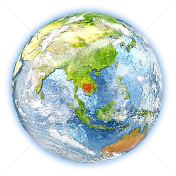 Kambodzsa Föld izolált piros Föld 3d illusztráció Stock fotó © Harlekino