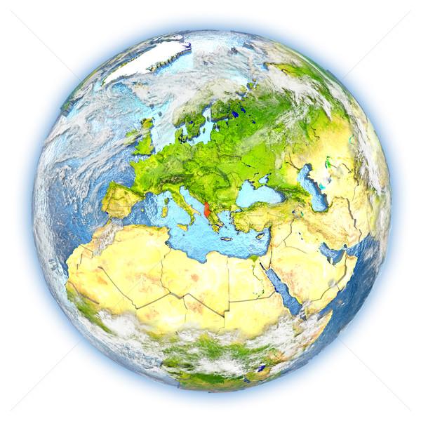 Албания земле изолированный красный планете Земля 3d иллюстрации Сток-фото © Harlekino