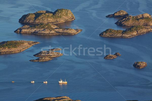 Oiseau oeil vue pêche bateaux Photo stock © Harlekino