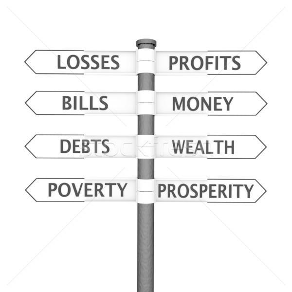 Vagyon vs szegénység útkereszteződés felirat tartalom Stock fotó © Harlekino