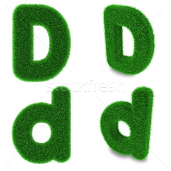 D betű fű fedett zöld fű izolált fehér Stock fotó © Harlekino