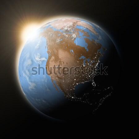 Сток-фото: солнце · север · Америки · планете · Земля · синий · изолированный