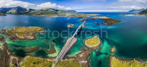 Stockfoto: Panorama · bruggen · antenne · schilderachtig · weg · eilanden