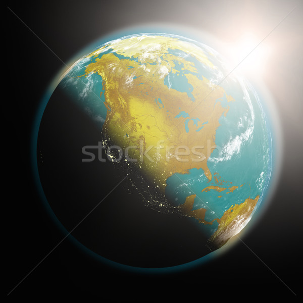Сток-фото: Восход · север · Америки · пространстве · мнение · солнце