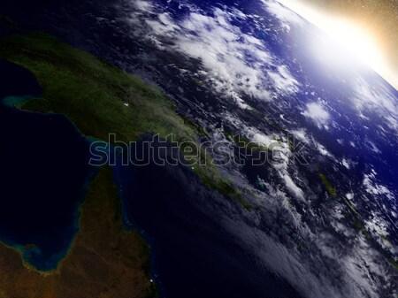 Папуа-Новая Гвинея пространстве Восход регион орбита 3d иллюстрации Сток-фото © Harlekino
