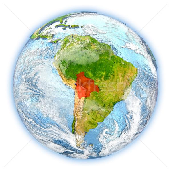 Боливия земле изолированный красный планете Земля 3d иллюстрации Сток-фото © Harlekino
