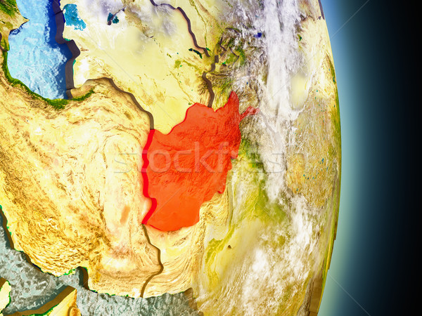 Afghanistan in red from space Stock photo © Harlekino