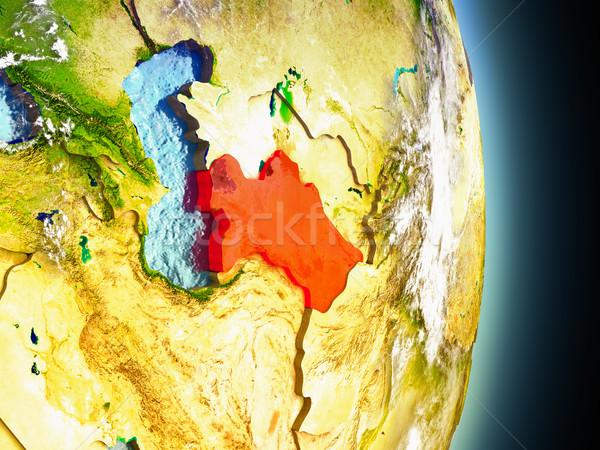 Turkmenistan in red from space Stock photo © Harlekino