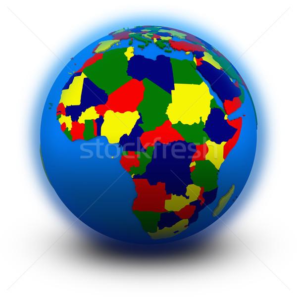 Afrika politikai földgömb illusztráció izolált fehér Stock fotó © Harlekino
