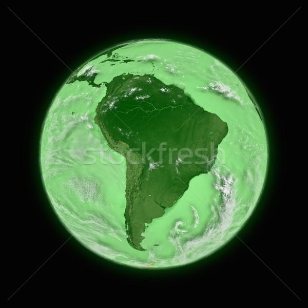 América del sur verde planeta tierra aislado negro Foto stock © Harlekino