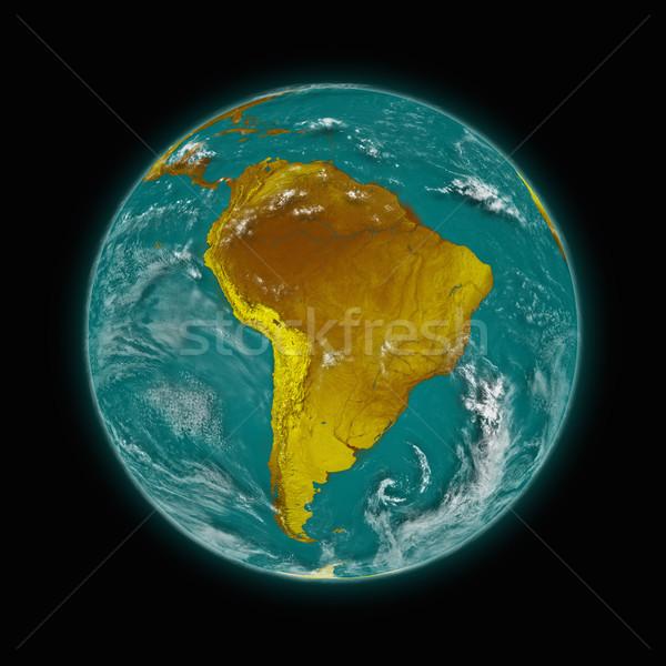 América del sur planeta tierra azul aislado negro Foto stock © Harlekino