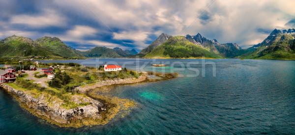Church on Lofoten islands Stock photo © Harlekino