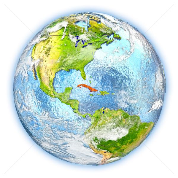 Küba toprak yalıtılmış kırmızı dünya gezegeni 3d illustration Stok fotoğraf © Harlekino