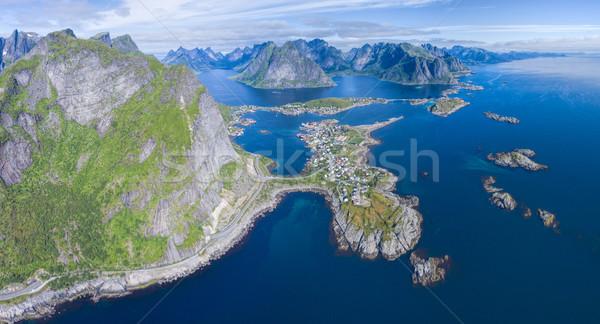 Norvégia lélegzetelállító légi panoráma halászat falu Stock fotó © Harlekino