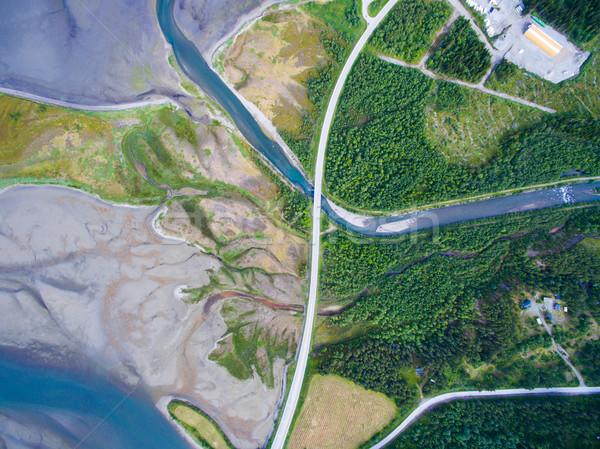 Norvég út felső lefelé légifelvétel folyó Stock fotó © Harlekino