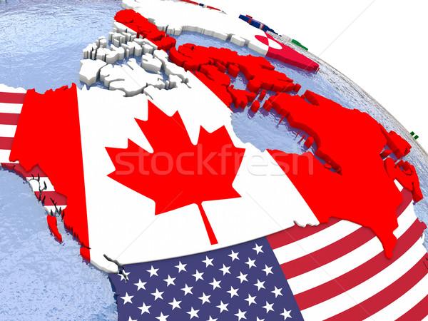 カナダ 政治的 地図 地域 国 モデル ストックフォト © Harlekino