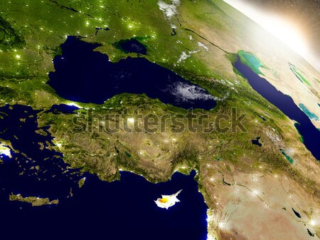 Sunrise over Israel, Lebanon, Jordan, Syria and Iraq region Stock photo © Harlekino