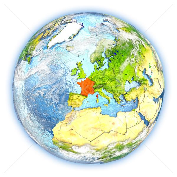 Frankreich Erde isoliert rot Planeten Erde 3D-Darstellung Stock foto © Harlekino