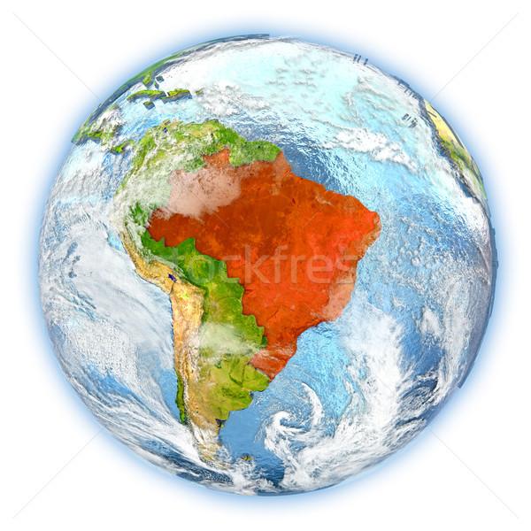 Бразилия земле изолированный красный планете Земля 3d иллюстрации Сток-фото © Harlekino