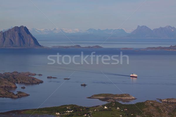 Cruise ship on norwegian coast Stock photo © Harlekino