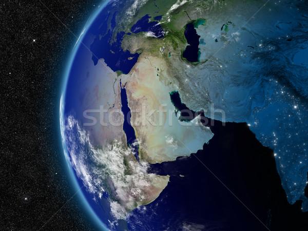 Orta Doğu uzay elemanları görüntü dünya harita Stok fotoğraf © Harlekino
