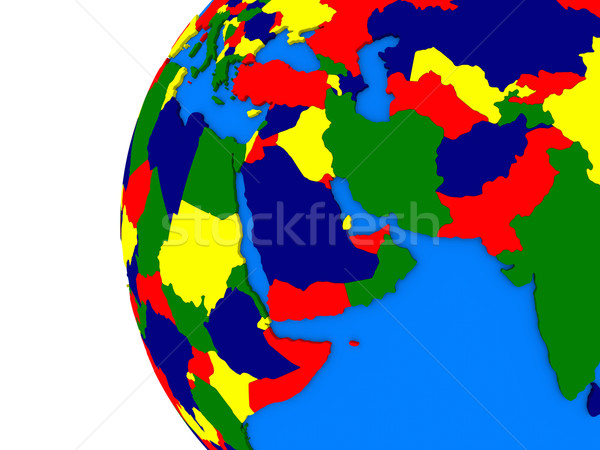Middle east region on political globe Stock photo © Harlekino