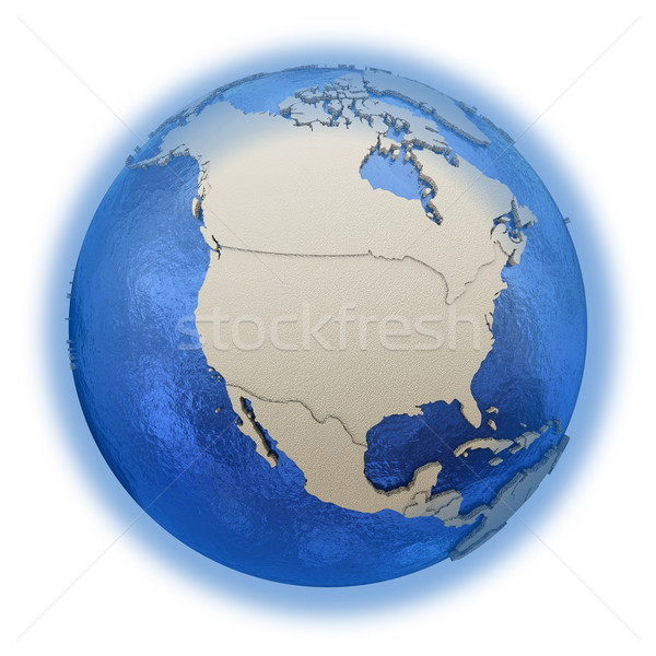 North America on model of planet Earth Stock photo © Harlekino