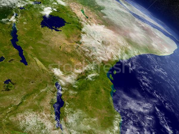 Tanzania przestrzeni region orbita 3d ilustracji wysoko Zdjęcia stock © Harlekino