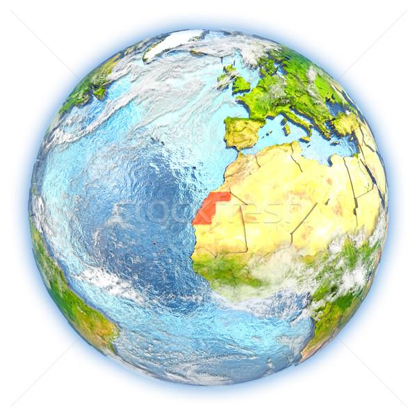 Western Szahara Föld izolált piros Föld Stock fotó © Harlekino