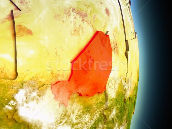 Nijer kırmızı uzay model yörünge 3d illustration Stok fotoğraf © Harlekino