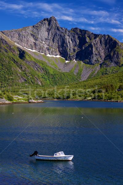 Motorówka mały góry Norwegia krajobraz Zdjęcia stock © Harlekino