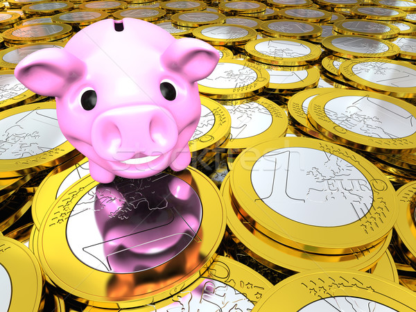 Abbondanza felice rosa salvadanaio euro Foto d'archivio © Harlekino