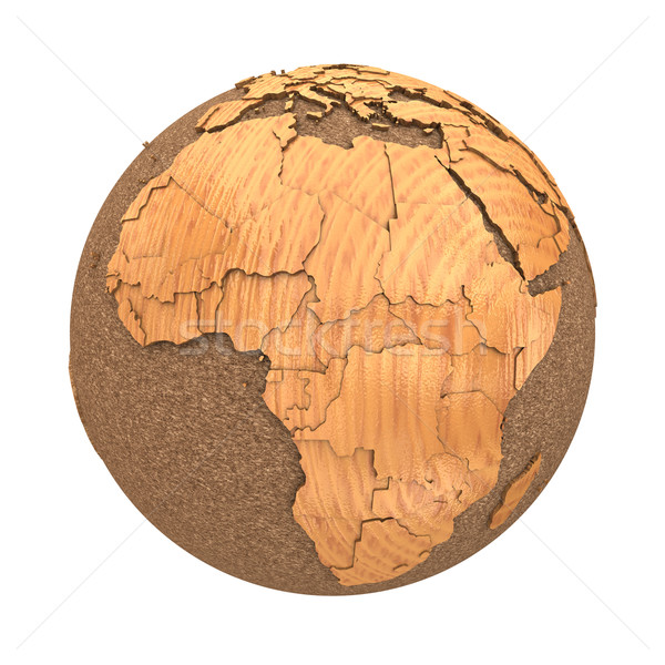 Stockfoto: Afrika · houten · aarde · 3D · model · oceanen