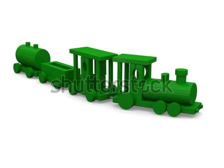 зеленый игрушку поезд 3D изолированный Сток-фото © Harlekino