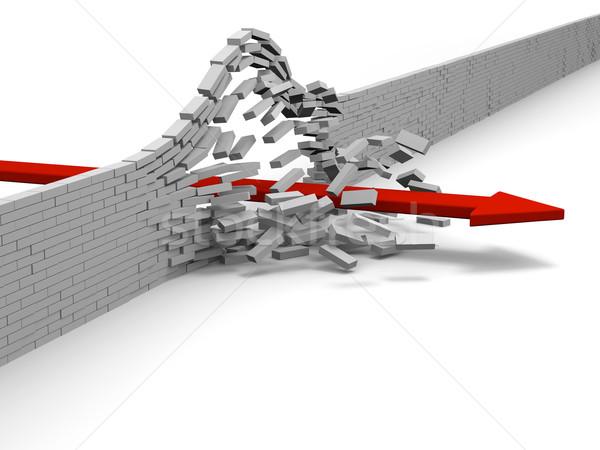 Vívmány piros nyíl téglafal siker áttörés Stock fotó © Harlekino