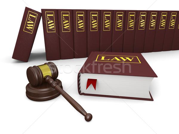 Juridiques littérature marteau droit livres blanche Photo stock © Harlekino