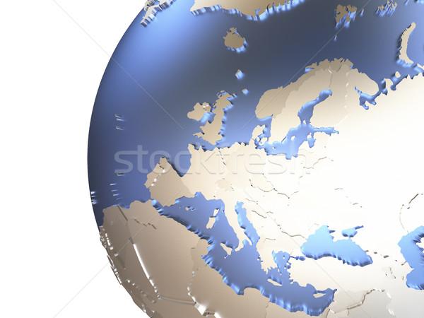 Europe on metallic Earth Stock photo © Harlekino
