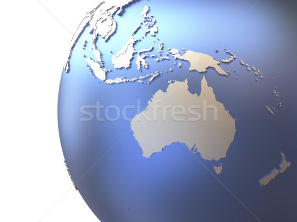 Австралия металлический земле модель планете Земля Континенты Сток-фото © Harlekino