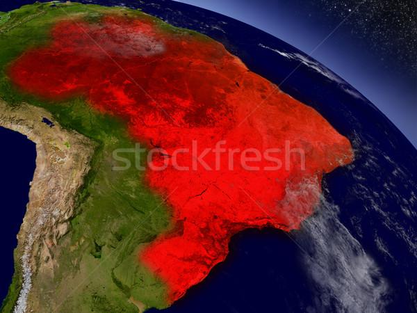 Brasil espacio rojo 3d Foto stock © Harlekino