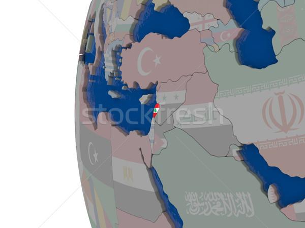 フラグ 地図 3次元の図 世界中 旅行 アジア ストックフォト © Harlekino