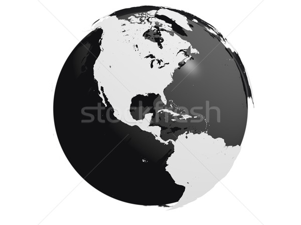 Tierra modelo negro núcleo continentes Foto stock © Harlekino
