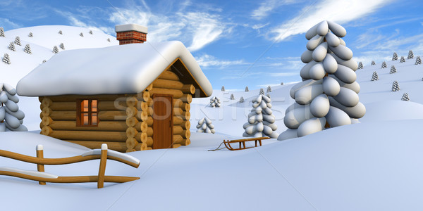 Log cabin in snowy countryside Stock photo © Harlekino