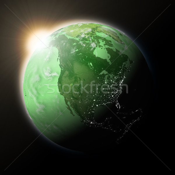 Sun over North America on green planet Earth Stock photo © Harlekino