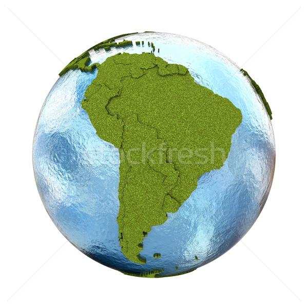 Sud america pianeta terra 3D modello erboso continenti Foto d'archivio © Harlekino