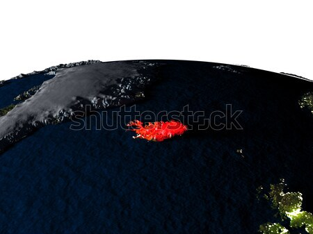 Iceland in red from space at night Stock photo © Harlekino