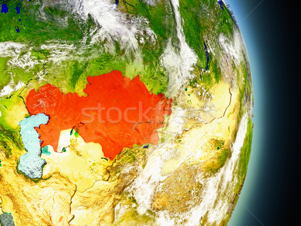 Kazachstan Rood ruimte model 3d illustration Stockfoto © Harlekino