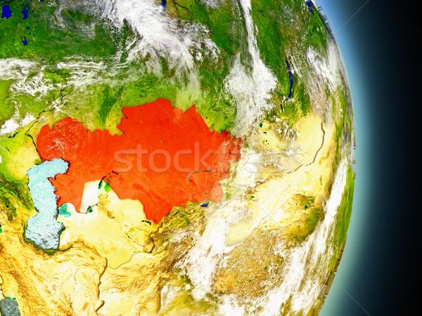 Kazakhstan in red from space Stock photo © Harlekino