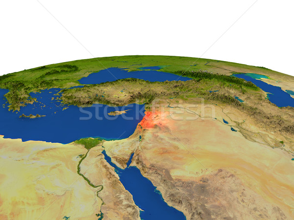 Lebanon in red from orbit Stock photo © Harlekino