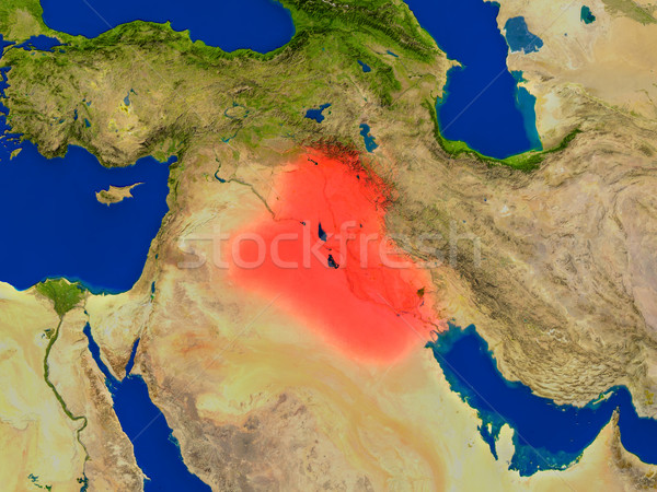 Iraq from space in red Stock photo © Harlekino