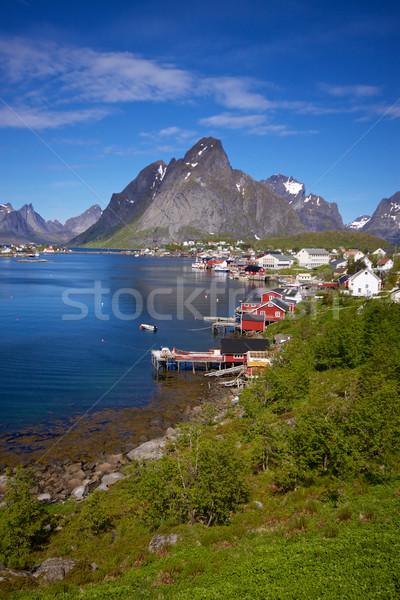 Pintoresco ciudad Noruega rojo pesca Foto stock © Harlekino